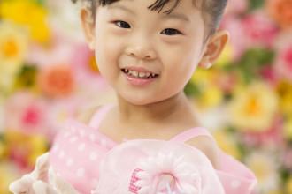 三歳七五三 ピンクドットドレス ケーキ付き 白グローブ かわいい