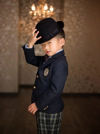 三歳 五歳 七五三 洋装 タキシード シルクハット 紺 チェック かっこいい
