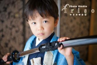 三歳 五歳 七五三 青水色紺着物 扇子 刀 かっこいい