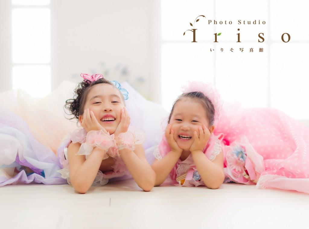 三歳 七歳 七五三 姉妹 洋装 紫 ピンク ドット スイーツ フラワー ふわふわ ドレス かわいい