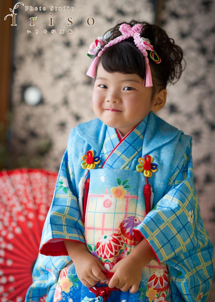 三歳七五三 水色チェック柄着物 水色被布 かわいい