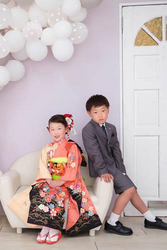 兄弟姉妹と一緒に撮影 三歳 五歳 七歳 七五三 和装 着物